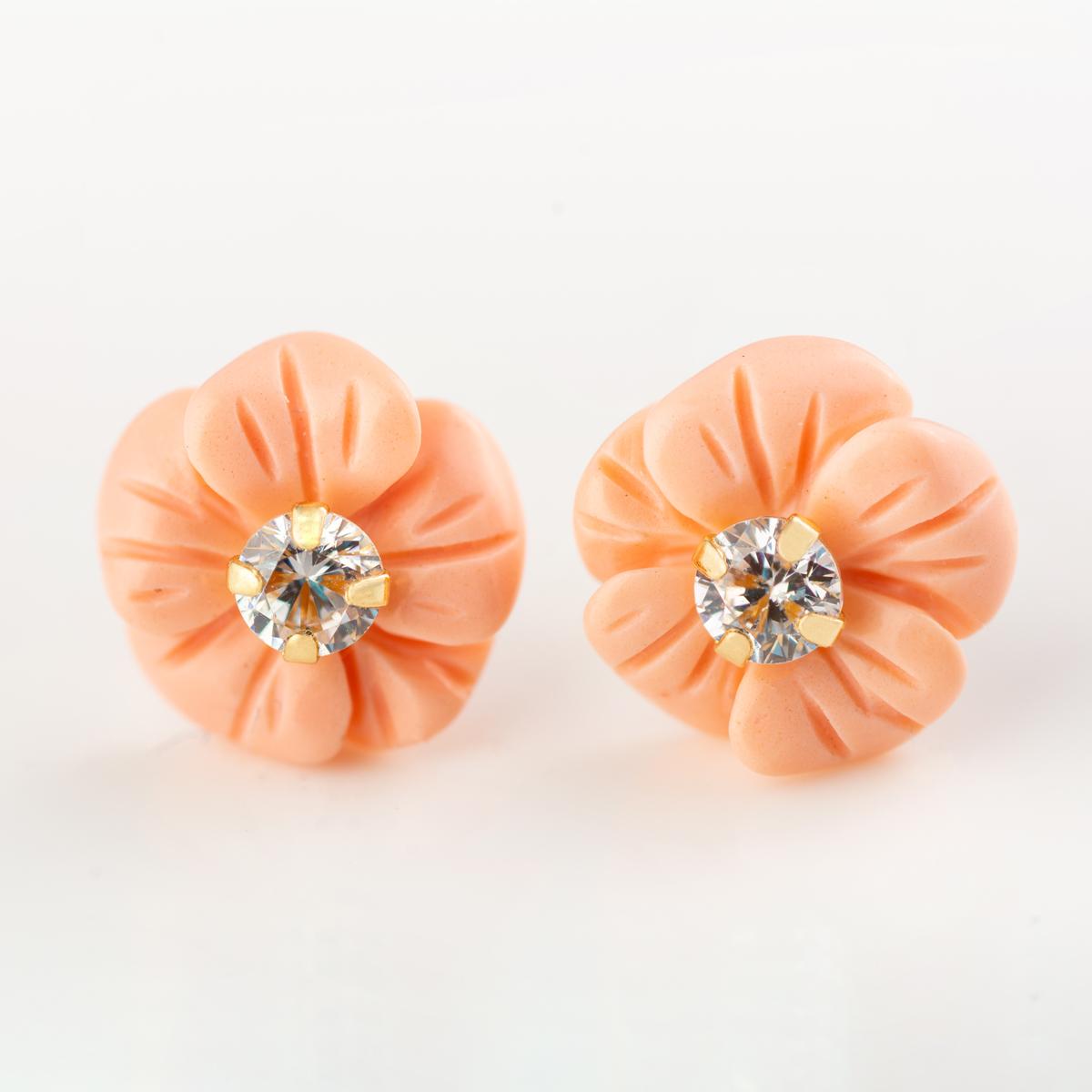 diseño de calidad ef113 237c4 Pendientes de color coral para niña en forma de flor