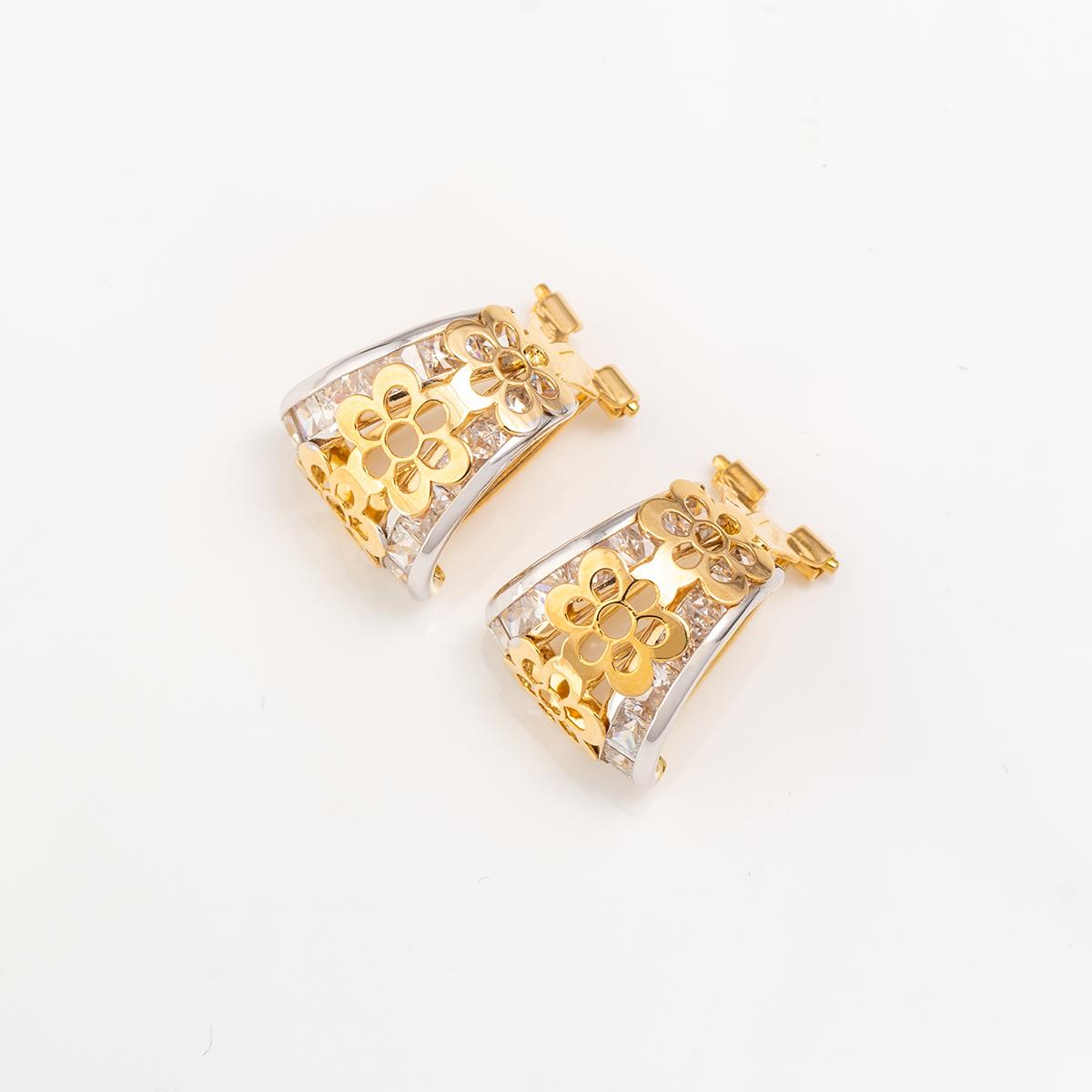 diseño de calidad 491e8 1adb0 Pendientes oro bicolor circonitas cierre omega